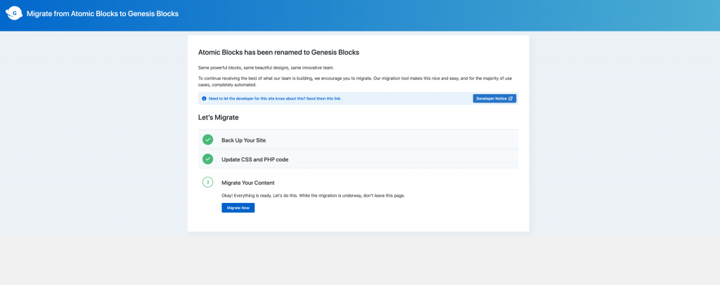 atomic blocks to genesis blocks migration